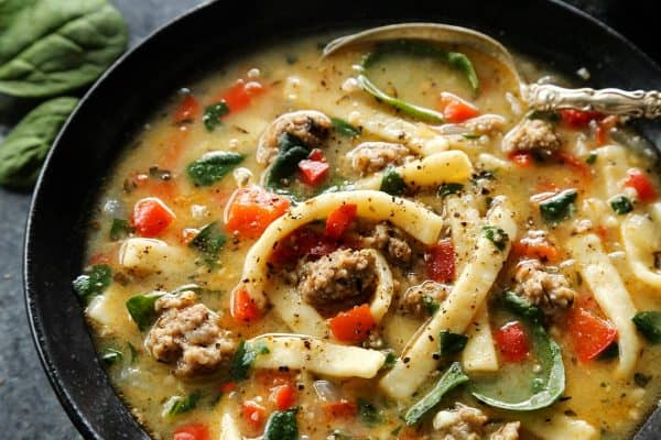 Sausage and Red Pepper Soup with Egg Noodles from afarmgirlsdabbles.com #soup