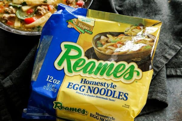 Sausage and Red Pepper Soup with Egg Noodles with #Reames from afarmgirlsdabbles.com #soup