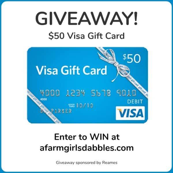 Reames $50 Visa Gift Card Giveaway at afarmgirlsdabbles.com