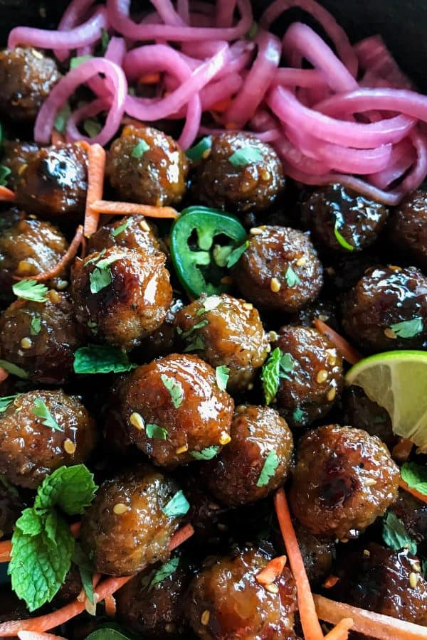 Banh Mi Meatballs from afarmgirlsdabbles.com #banhmi #meatballs #gameday #appetizer
