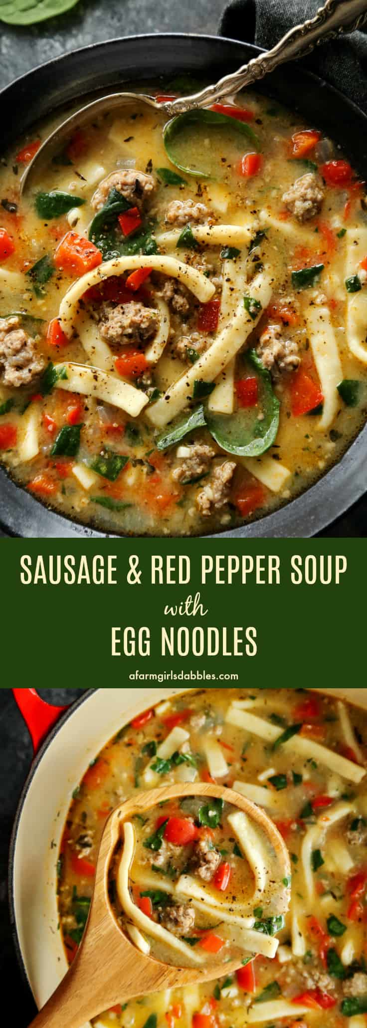 Sausage and Red Pepper Soup with Egg Noodles from afarmgirlsdabbles.com #soup #sausage #redpepper #eggnoodles