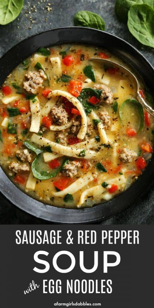 pinterest image of Sausage and Red Pepper Soup with Egg Noodles