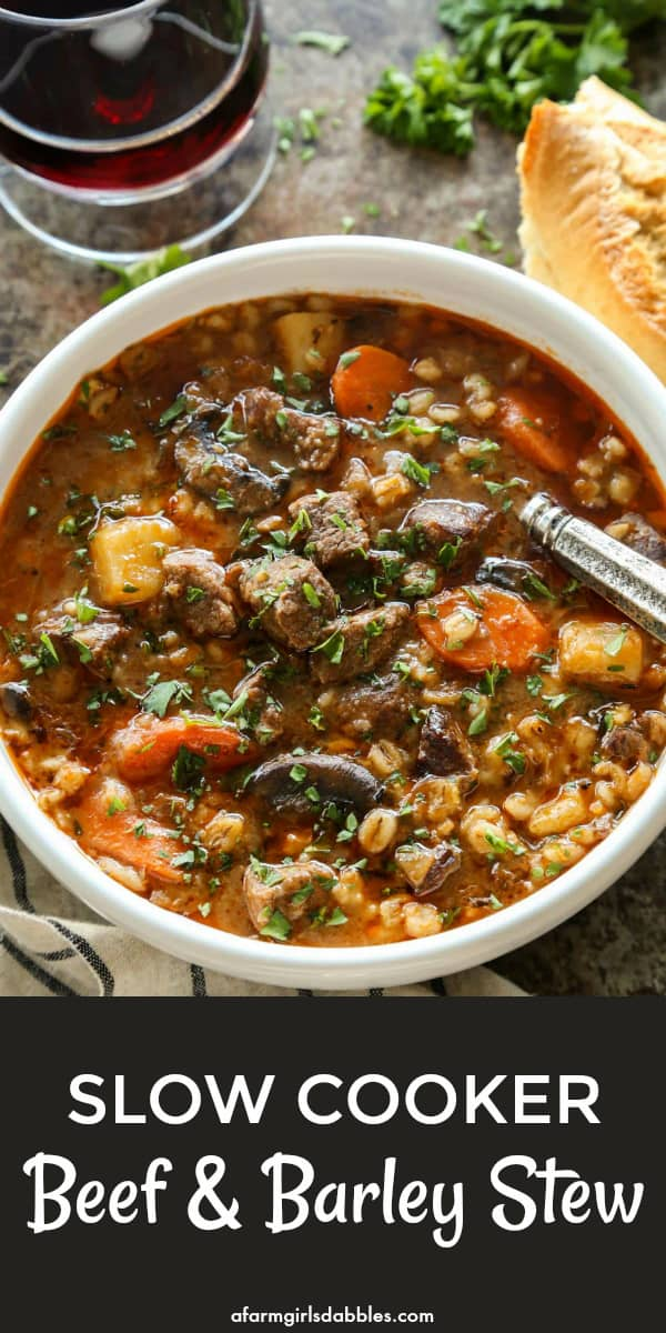 pinterest image of Slow Cooker Beef and Barley Stew