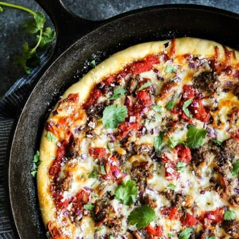 Skillet Pizza with Sausage and Chili Garlic Tomato Sauce