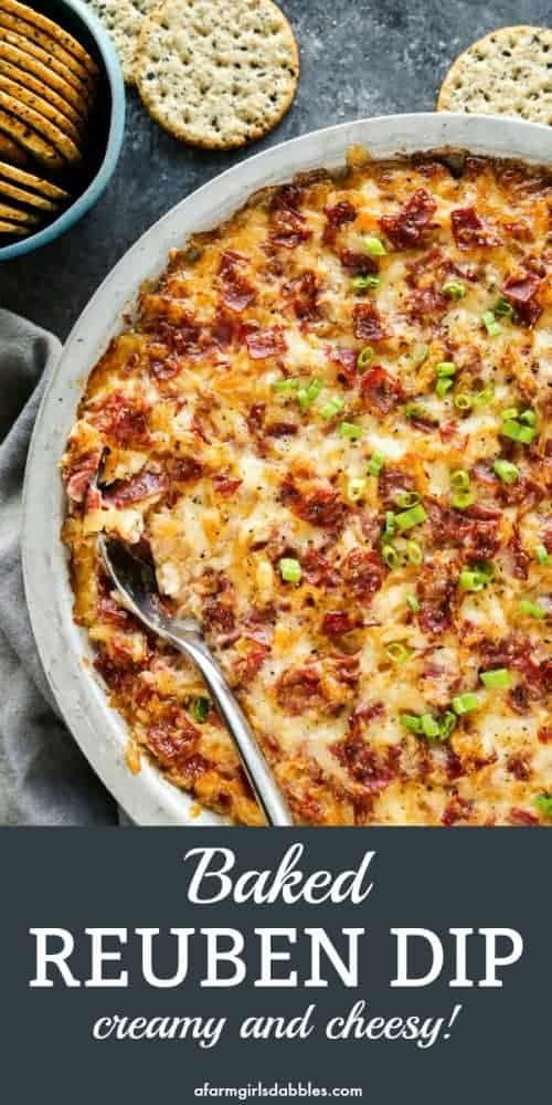 pinterest image of baked Reuben dip