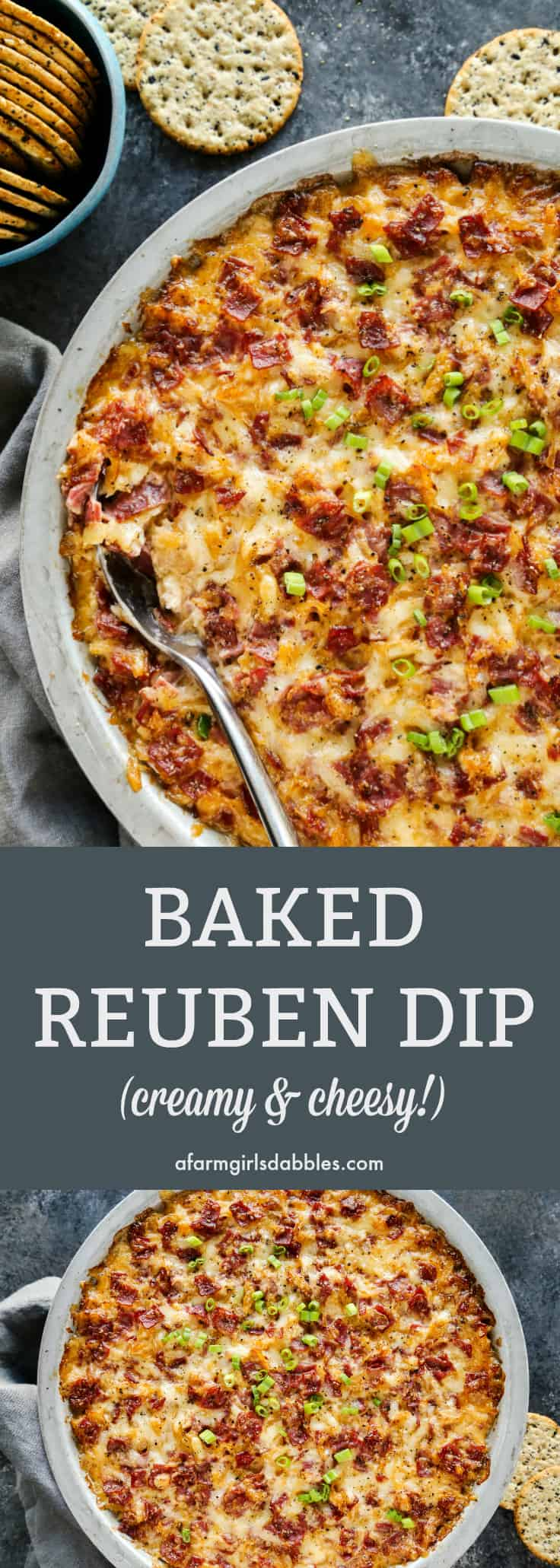 Baked Reuben Dip from afarmgirlsdabbles.com - This appetizer is like a deconstructed Reuben sandwich, all magnificently reborn into a baked ooey gooey, cheesy dip! #appetizer #reuben #reubendip #sauerkraut #gameday #cheese #cornedbeef