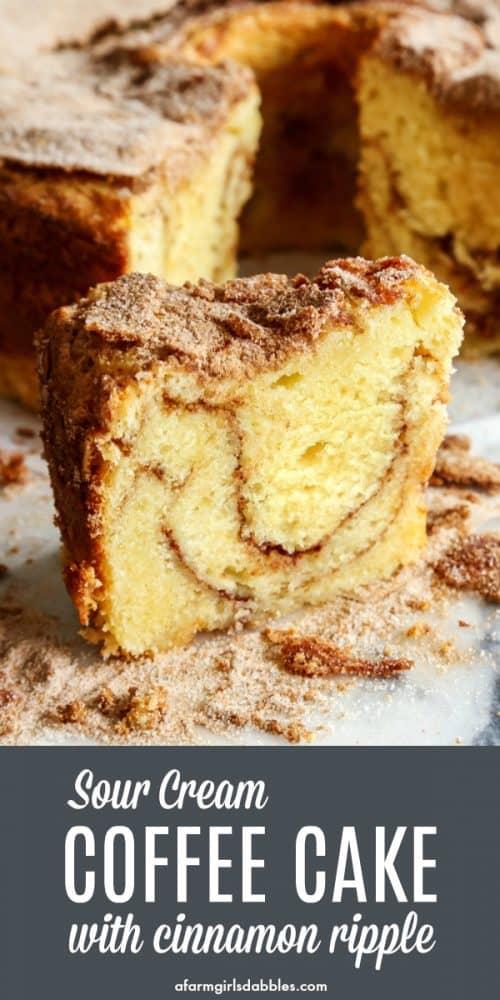 pinterest image of sour cream coffee cake with cinnamon ripple
