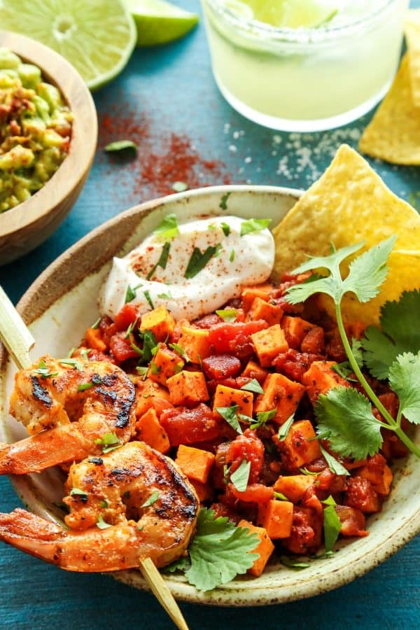 Mexican Sweet Potato and Tomato Grilled Shrimp Bowls with guacamole and a margarita