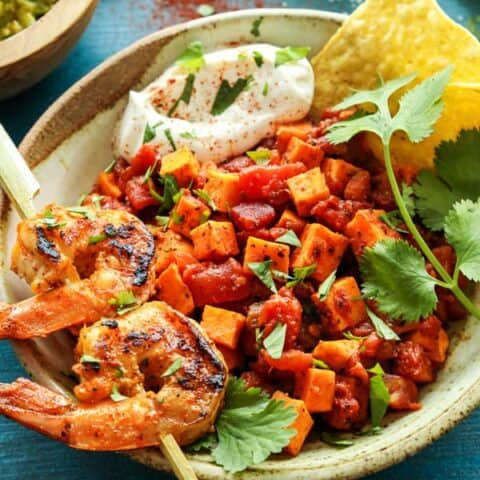 Mexican Sweet Potato and Tomato Grilled Shrimp Bowls