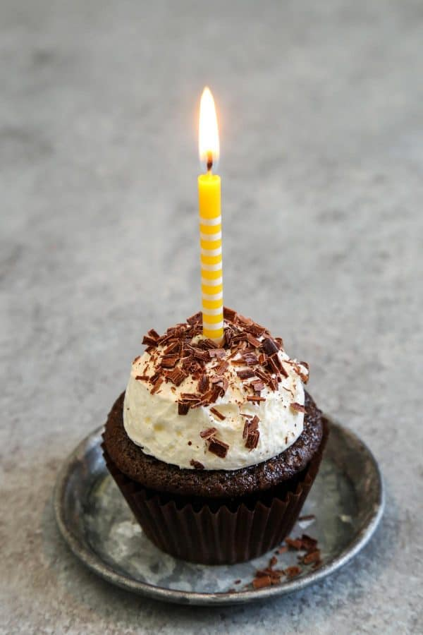 Chocolate Cupcakes with a yellow birthday candle