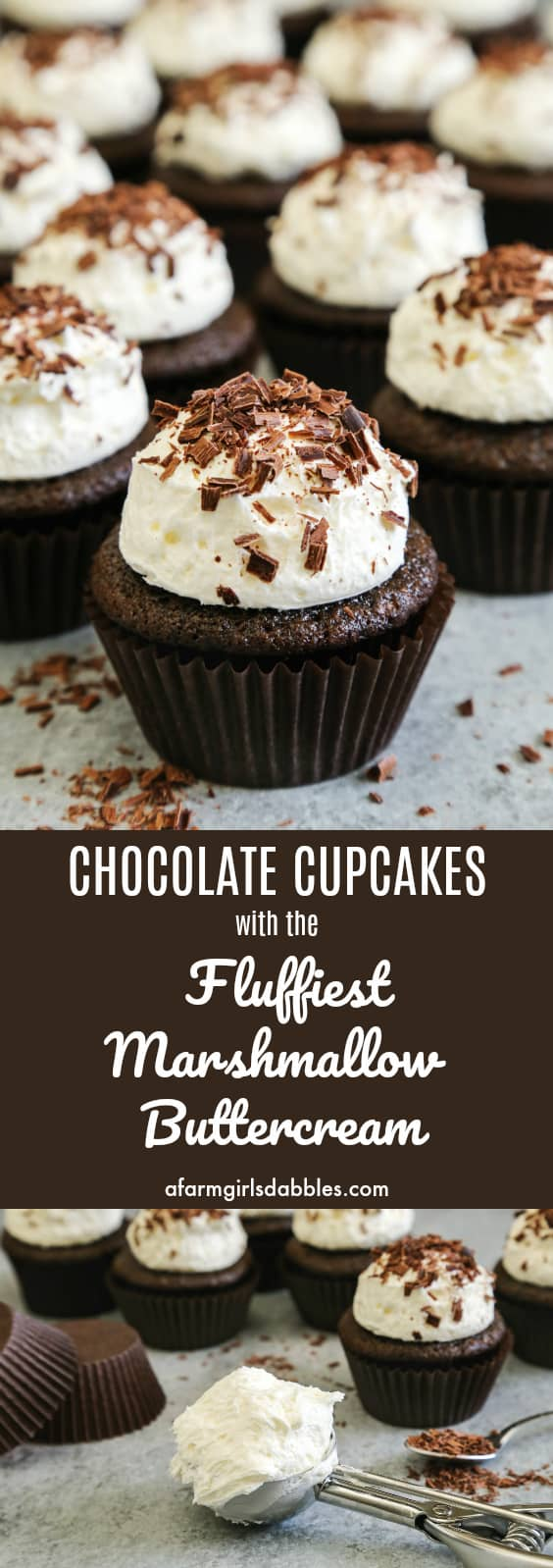 Pinterest image of frosted chocolate cupcakes