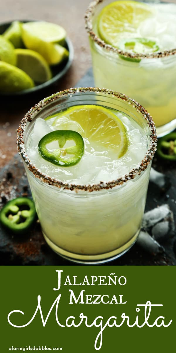 Jalapeno Mezcal Margarita from afarmgirlsdabbles.com - Smoky mezcal is infused with fresh jalapeno for a bold and spicy margarita, all in a chili salt rimmed glass. #mezcal #jalapeno #margarita #cocktail