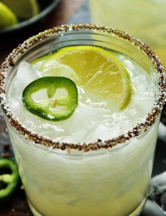 Margarita with salt rimmed glass