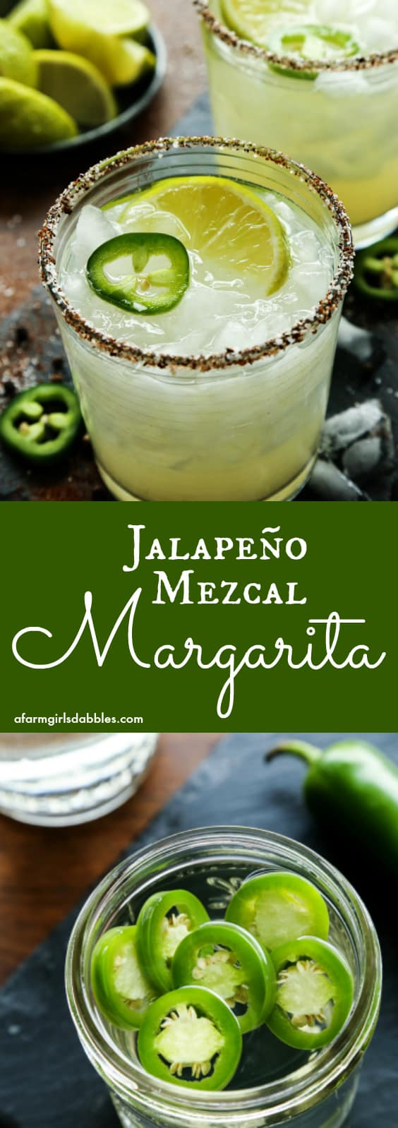 Jalapeno Mezcal Margarita from afarmgirlsdabbles.com - Smoky mezcal is infused with fresh jalapeno for a bold and spicy margarita, all in a chili salt rimmed glass. #mezcal #margarita #jalapeno #spicymargarita #cocktail #cincodemayo