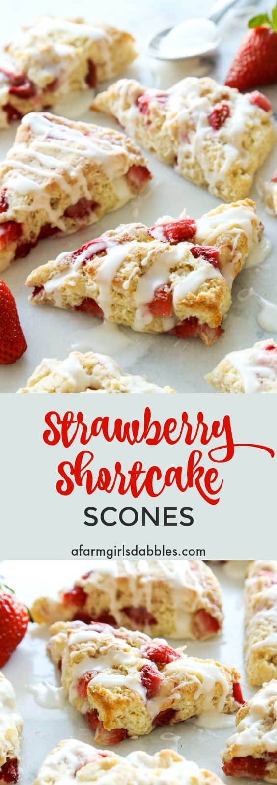 Strawberry Shortcake Scones from afarmgirlsdabbles.com - buttery, golden scones studded with juicy strawberries and drizzled with a vanilla cream glaze