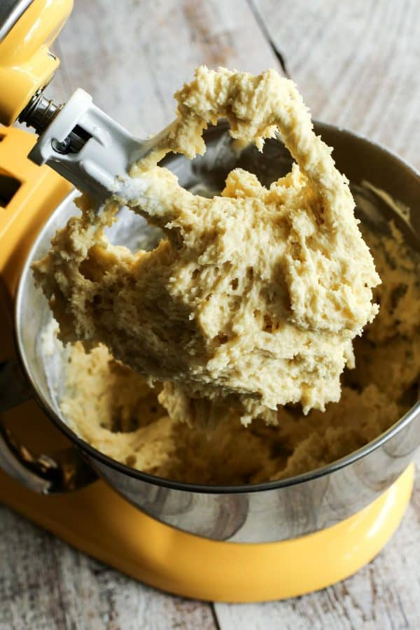 Rhubarb Sour Cream Coffee Cake from afarmgirlsdabbles.com - mixing the batter