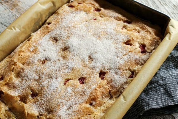 a pan of Coffee Cake made with sour cream and rhubarb
