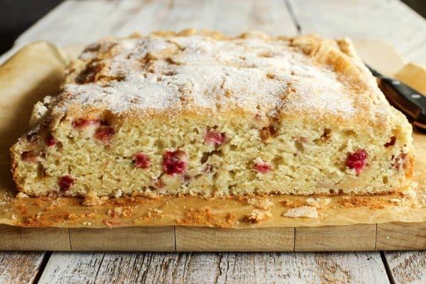 sliced Rhubarb Sour Cream Coffee Cake