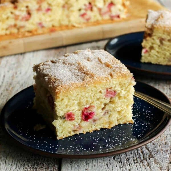 Rhubarb Sour Cream Coffee Cake from afarmgirlsdabbles.com - A tender coffee cake studded with tart bites of rhubarb and topped with a thin and crispy sugar baked crust.