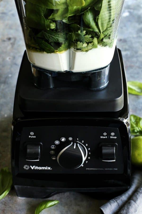 Vitamix blender to make green curry yogurt sauce - afarmgirlsdabbles.com #vitamix