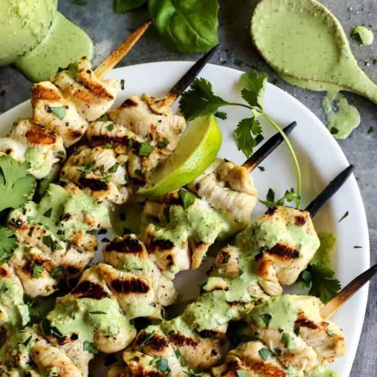 Chicken Skewers with Green Curry Yogurt Sauce