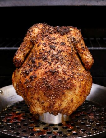 crispy beer can chicken on the grill