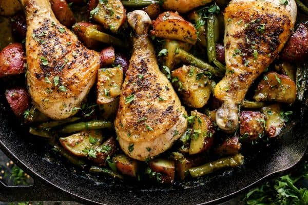 Honey Mustard Chicken and Vegetables (One Pan) from afarmgirlsdabbles.com - honey mustard chicken recipe #chicken #honey #mustard