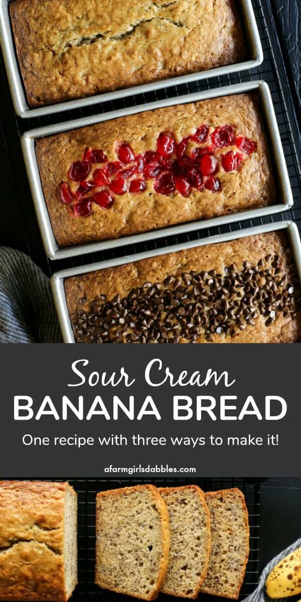 pinterest image of Sour Cream Banana Bread