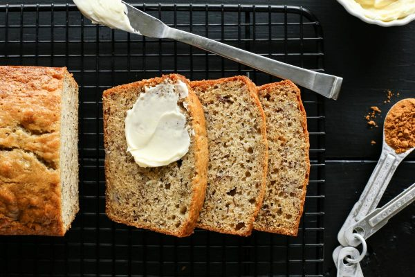 slices of Banana Bread with butter