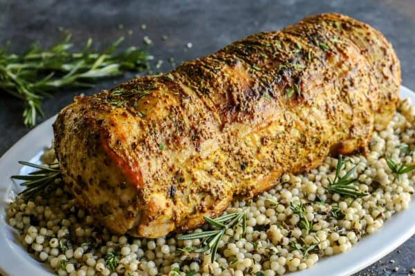 Mustard Pork Loin Roast with couscous