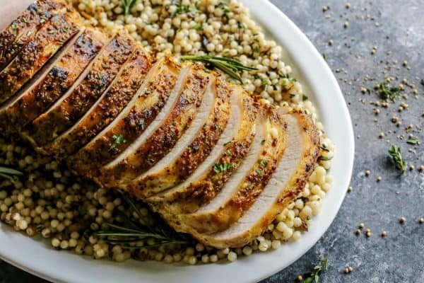 sliced Mustard Pork Loin Roast