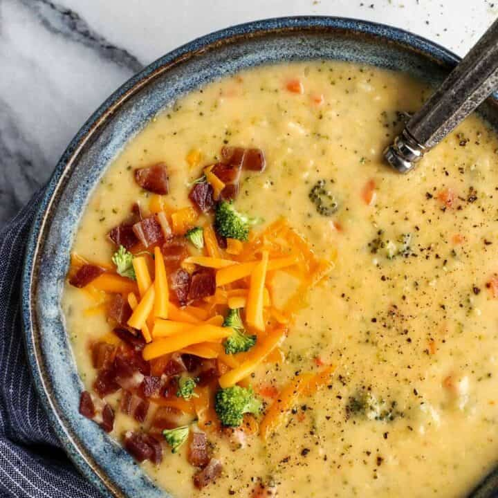 Broccoli Cheddar Soup Loaded with Vegetables