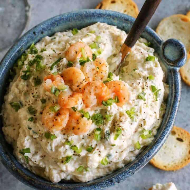 blue bowl of dip with shrimp