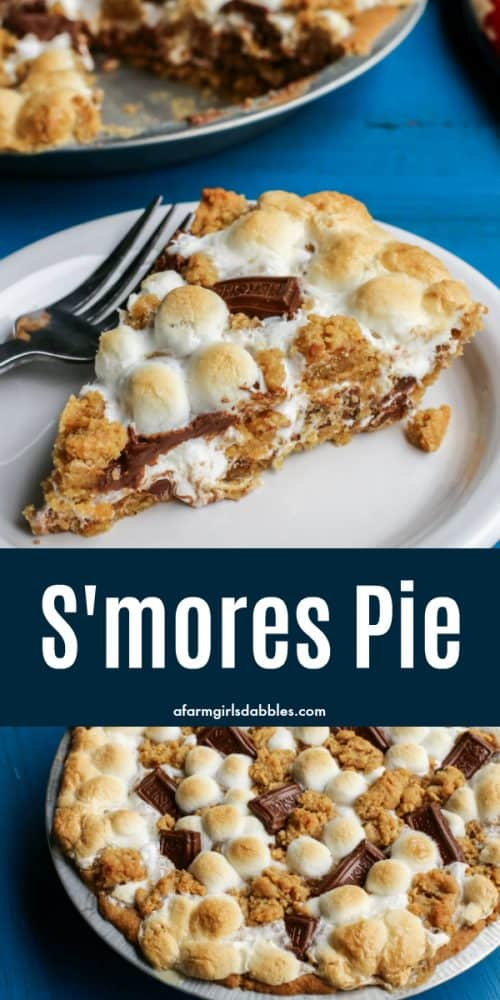 pinterest image of S'mores Pie on a white plate