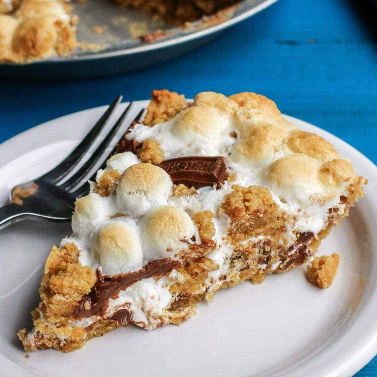 S'mores Pie with a fork