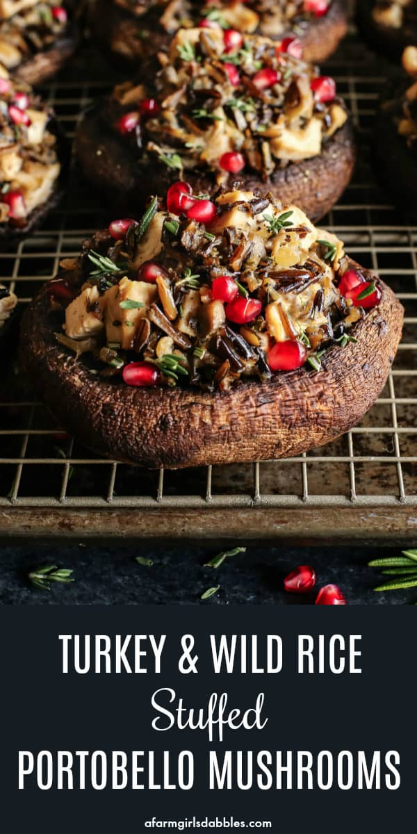 Turkey Wild Rice Stuffed Portobello Mushrooms from afarmgirlsdabbles.com - These stuffed portobello mushrooms are all dressed up for the holidays. Giant mushroom caps are filled with a flavorful, lightly creamy mixture of wild rice and turkey. And a sprinkling of fresh herbs and shiny, ruby-red pomegranate seeds are the final festive, delicious touch! #stuffed #portobello #mushroom #mushrooms #thanksgiving #holiday #turkey #wildrice #pomegranate #herbs #christmas