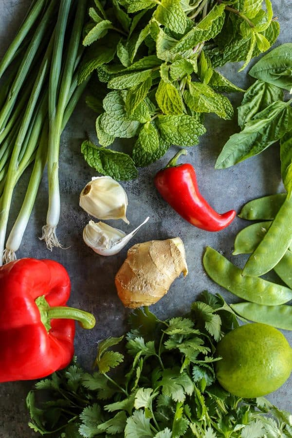 fresh vegetables and herbs for Thai Chicken Soup