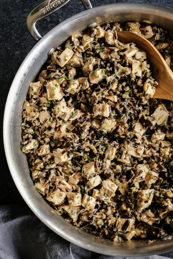 creamy wild rice and turkey filling