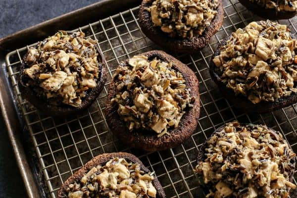 portobello mushrooms stuffed with creamy wild rice and turkey mixture