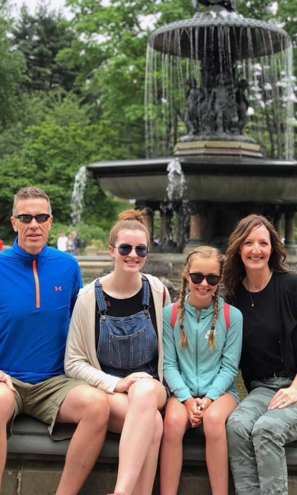 our family at Central Park fountain in New York City
