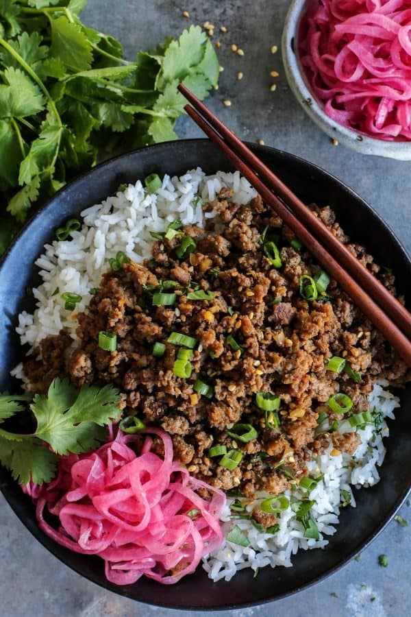Korean beef and rice in a bowl