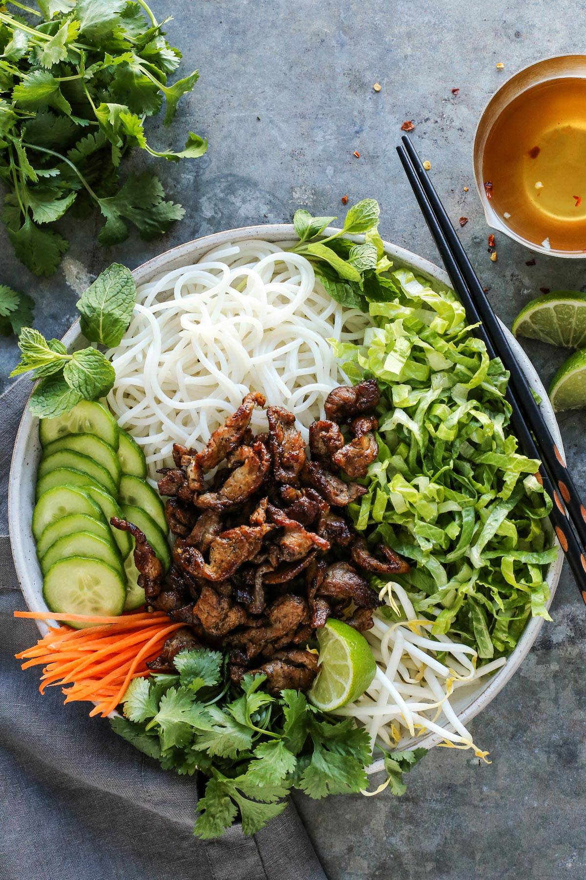 A bowl filled with Vietnamese noodle salad