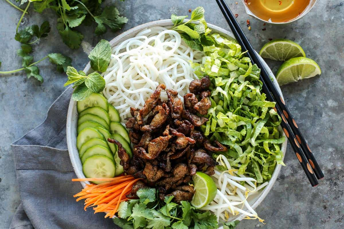 Vietnamese Noodle Salad in a bowl with chopsticks