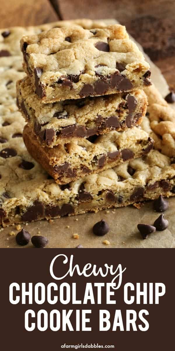 pinterest image of chewy chocolate chip cookie bars