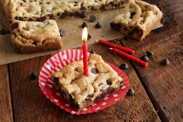 chocolate chip cookie bar with birthday candle