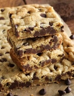 a stack of chocolate chip cookie bars