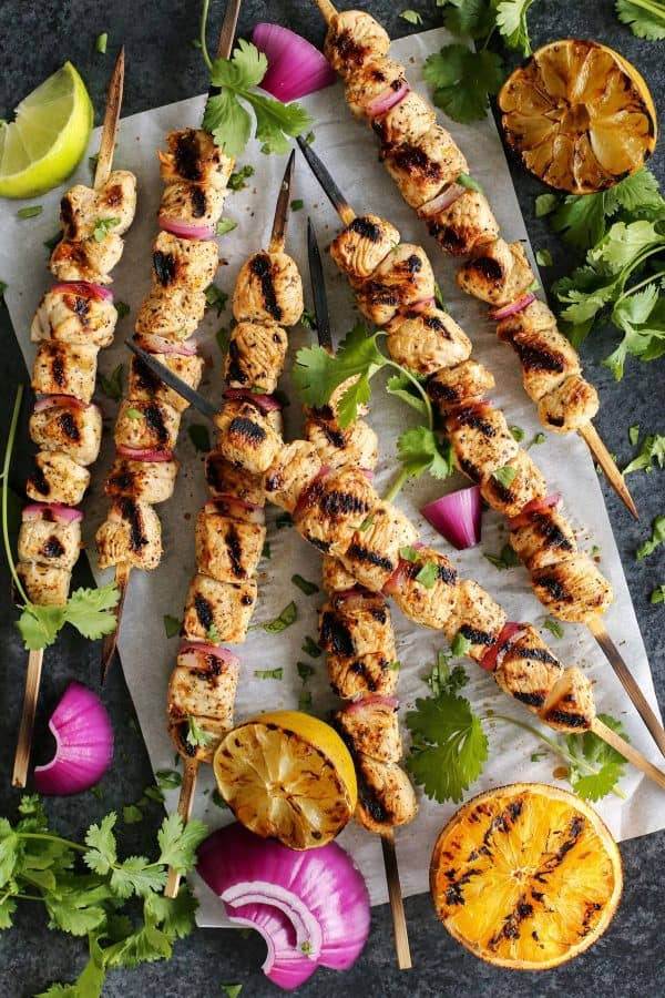 Grilled Margarita Turkey Kebabs from afarmgirlsdabbles.com - These grilled kebabs are tender and flavorful from a fresh citrus marinade. It's a fun meal packed with lean protein! #turkey #kebabs #grilling #margarita #lime #orange #onion #cincodemayo