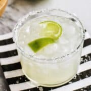 a margarita in a salt-rimmed glass