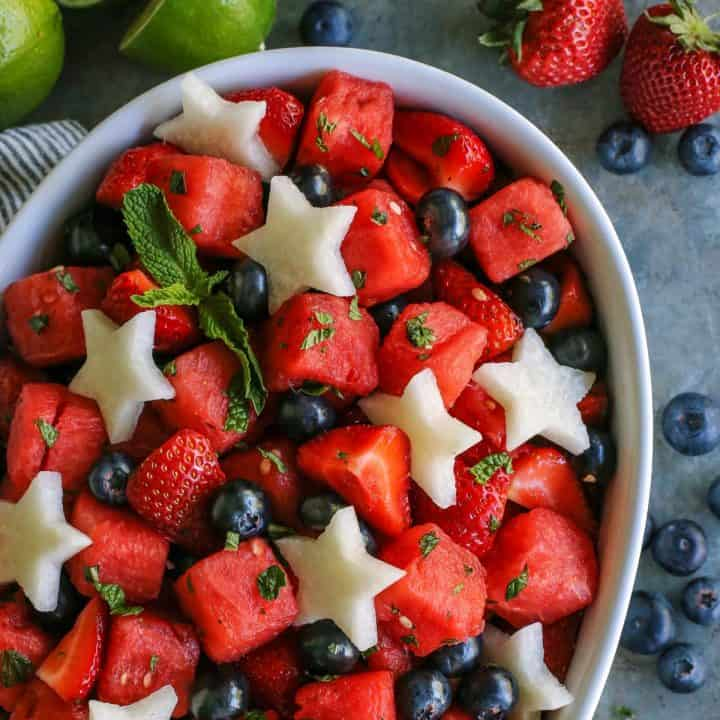 mojito fruit salad with jicama stars