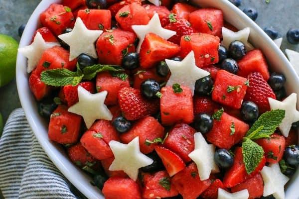 fresh fruit salad with mint and jicama stars